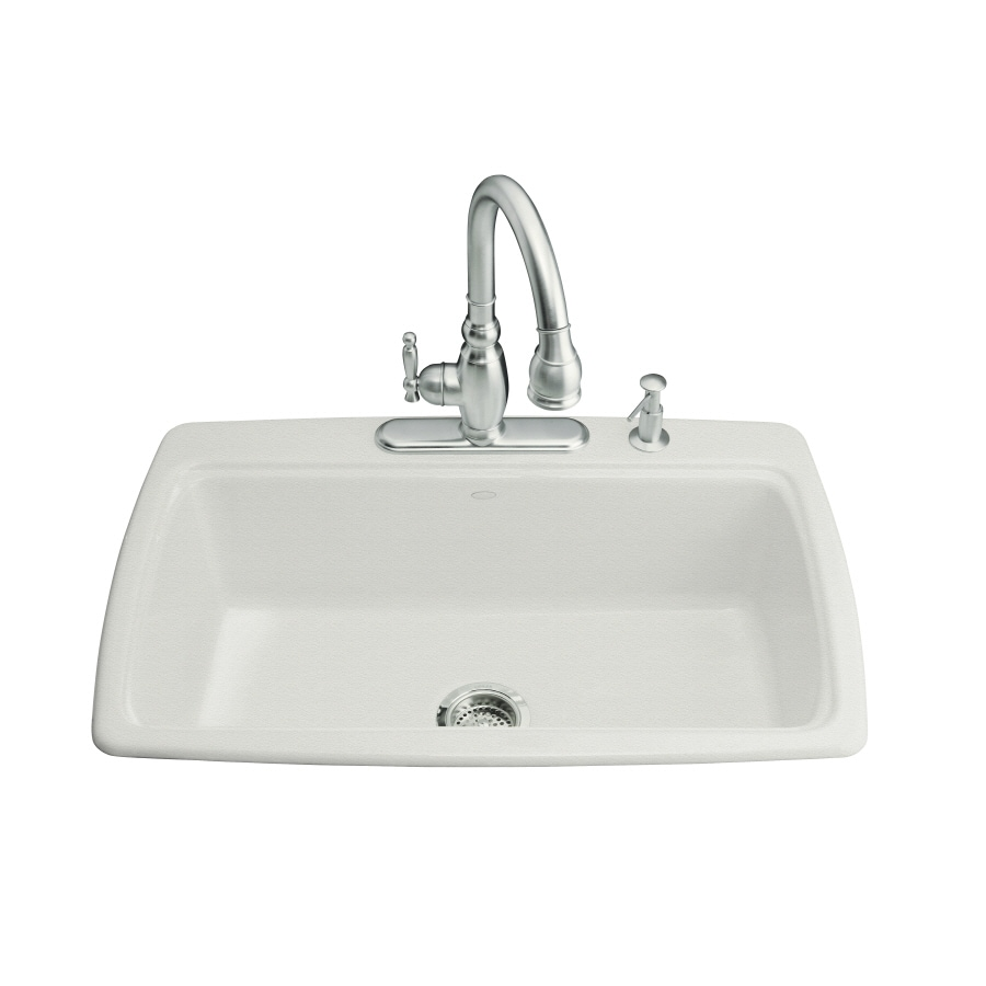 KOHLER Cape Dory 22-in x 33-in Sea Salt Single-Basin Cast Iron Drop-in 4-Hole Residential Kitchen Sink