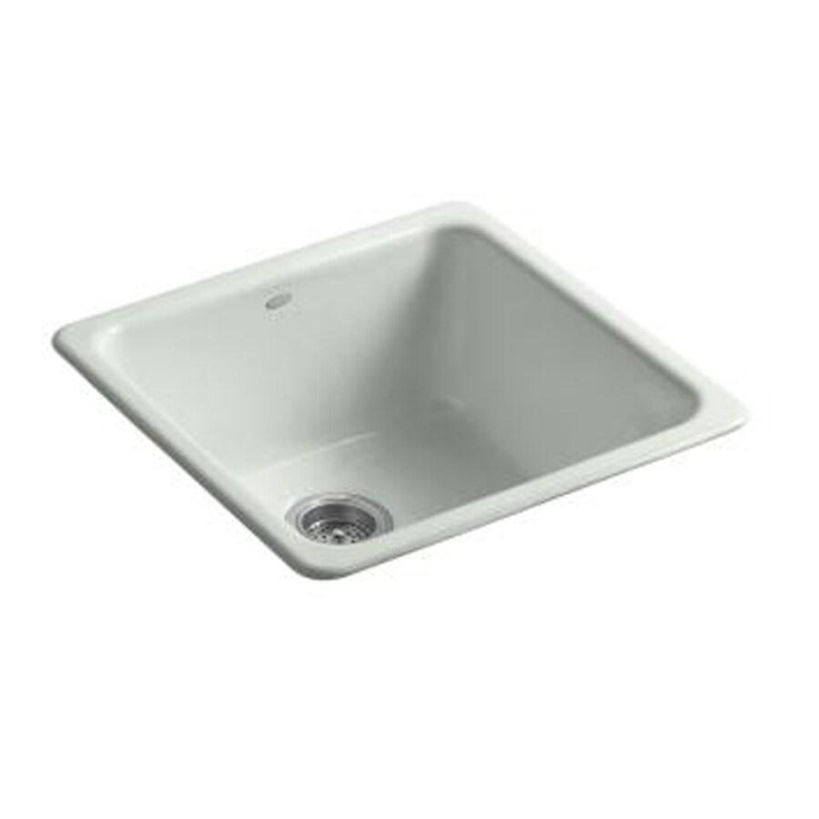 KOHLER Iron/Tones 20.87-in x 20.87-in Sea Salt Single-Basin Cast Iron Drop-in or Undermount Residential Kitchen Sink