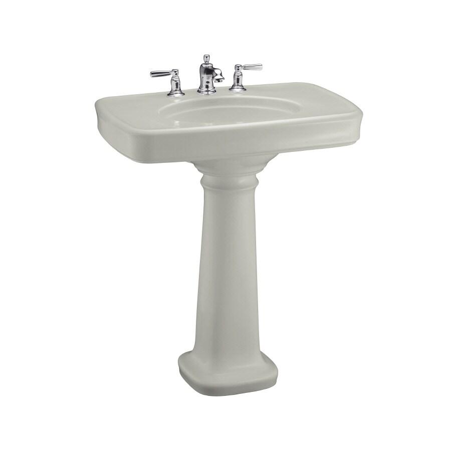 KOHLER Bancroft 35.25-in H Ice Grey Fire Clay Pedestal Sink