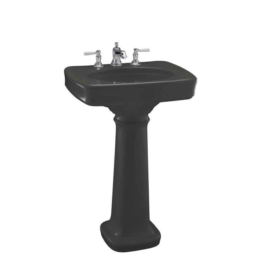 KOHLER Bancroft 35.25-in H Thunder Grey Vitreous China Pedestal Sink