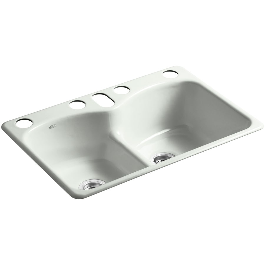 KOHLER Langlade 22-in x 33-in Sea Salt Double-Basin Cast Iron Undermount 5-Hole Residential Kitchen Sink