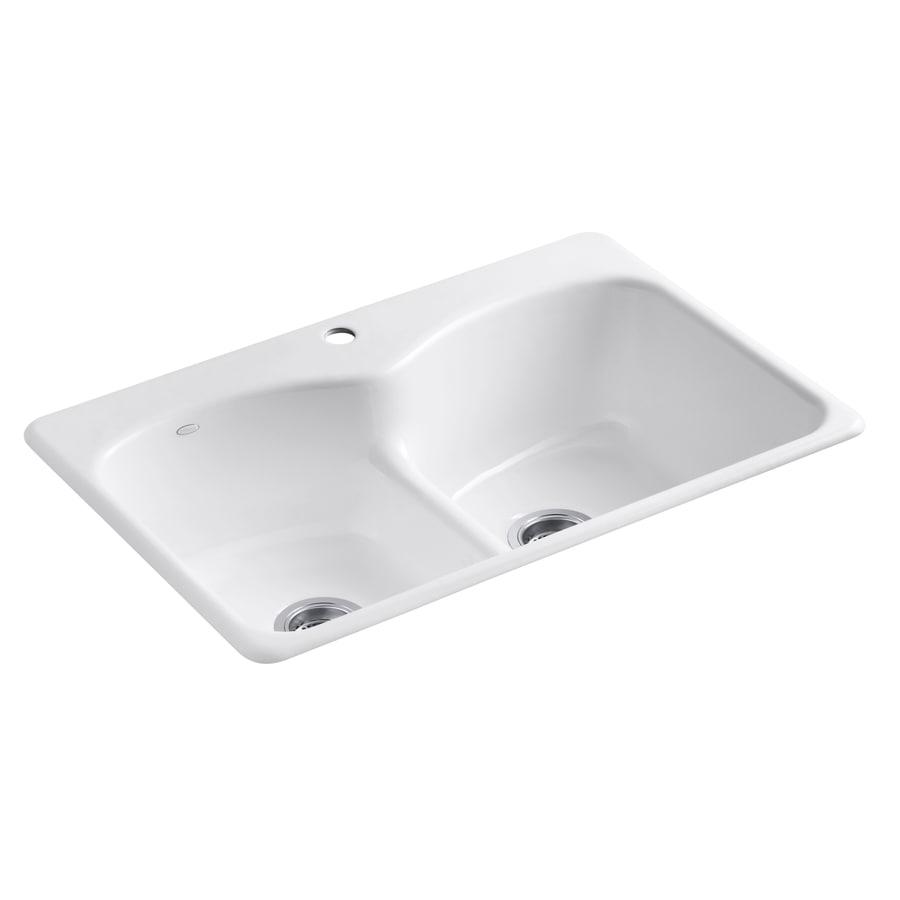 Shop Kohler Langlade 22 In X 33 In White Double Basin Cast