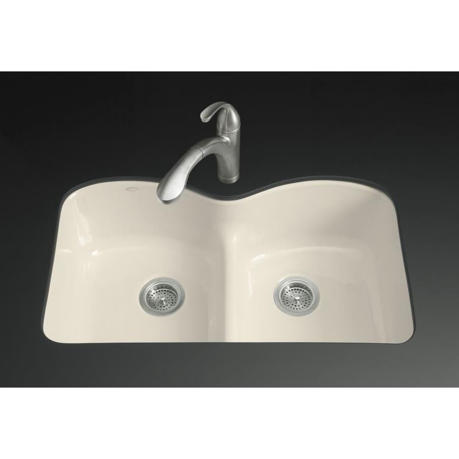 KOHLER Langlade 22-in x 33-in Almond Double-Basin Cast Iron Undermount 1-Hole Residential Kitchen Sink