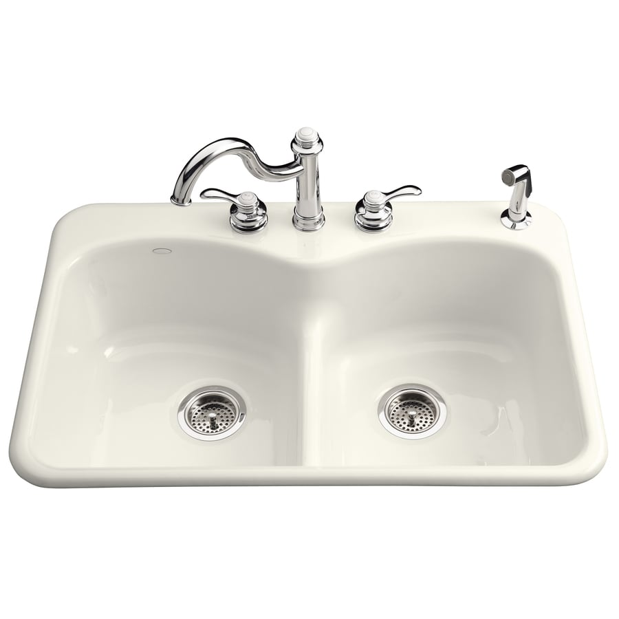 KOHLER Langlade 22-in x 33-in Biscuit Double-Basin Cast Iron Drop-In 1-Hole Commercial Kitchen Sink