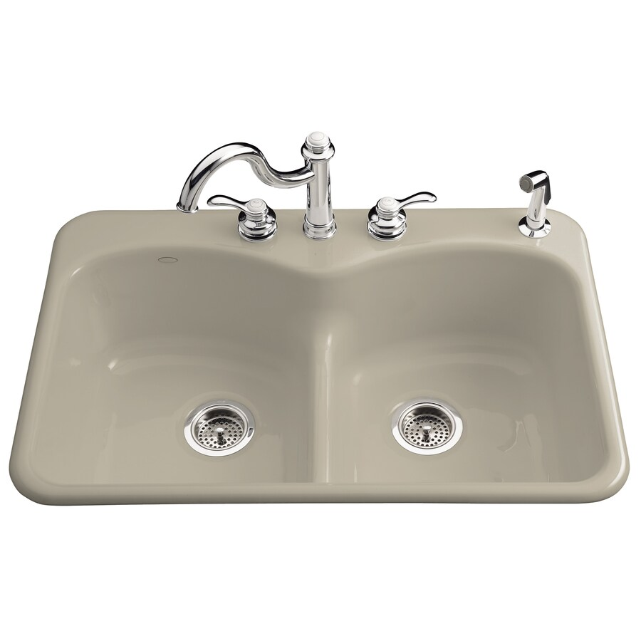 KOHLER Langlade 22-in x 33-in Sandbar Double-Basin Cast Iron Drop-in 1-Hole Residential Kitchen Sink