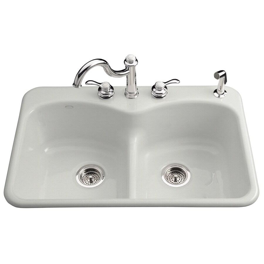 KOHLER Langlade 22-in x 33-in Sea Salt Double-Basin Cast Iron Drop-in 1-Hole Residential Kitchen Sink