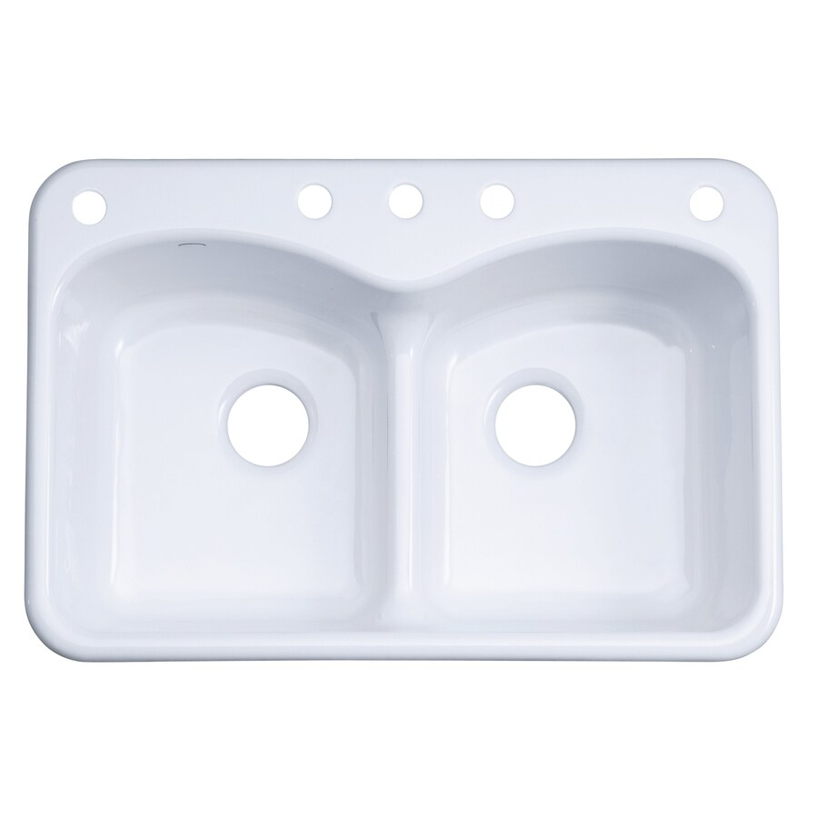 KOHLER Langlade 22-in x 33-in White Double-Basin Cast Iron Drop-in 5-Hole Residential Kitchen Sink