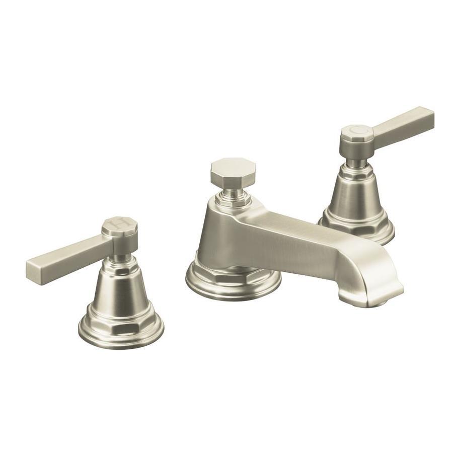 KOHLER Pinstripe Vibrant Brushed Nickel 2-Handle Widespread WaterSense Bathroom Faucet (Drain Included)