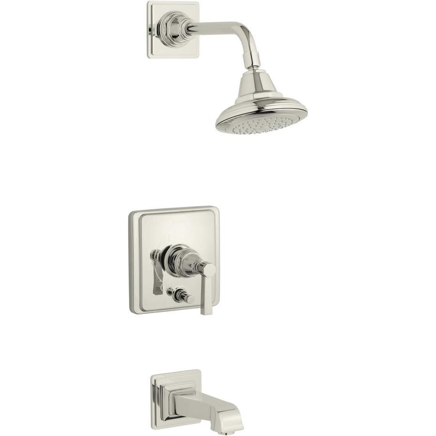 KOHLER Pinstripe Vibrant Polished Nickel 1-Handle Bathtub and Shower Faucet Trim Kit with Single Function Showerhead
