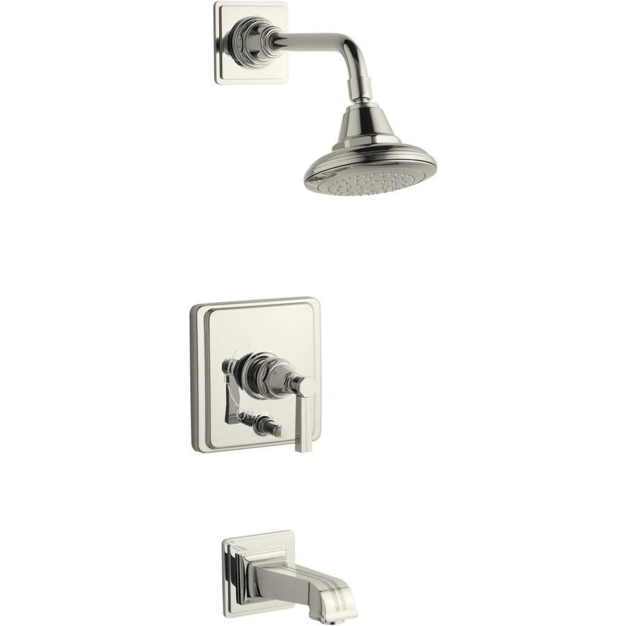Shop kohler pinstripe vibrant polished nickel 1 handle bathtub and shower faucet trim kit with