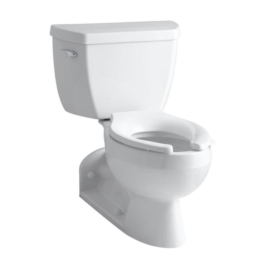 KOHLER Barrington White 1.6-GPF (6.06-LPF) 4 Rough-In Elongated Pressure Assist 2-Piece Chair Height Toilet