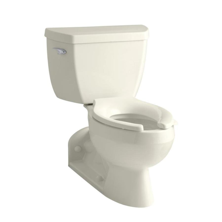 KOHLER Barrington Biscuit 1.6-GPF (6.06-LPF) 4 Rough-In Elongated Pressure Assist 2-Piece Chair Height Toilet