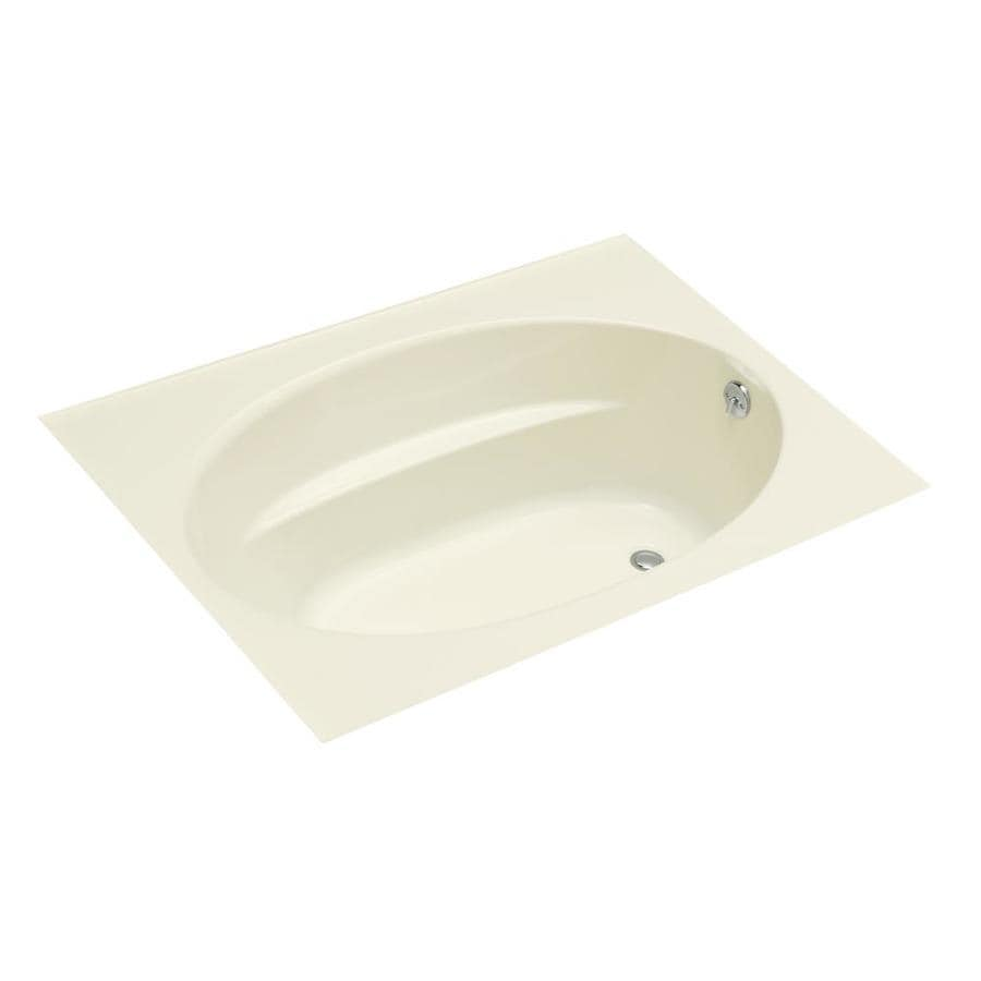 KOHLER Windward Biscuit Acrylic Oval In Rectangle Drop-in Bathtub with Reversible Drain (Common: 42-in x 60-in; Actual: 21-in x 42-in x 60-in)