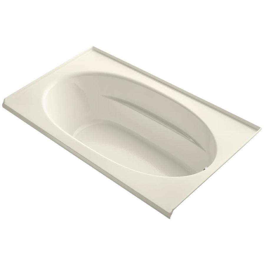 KOHLER Windward Biscuit Acrylic Oval In Rectangle Alcove Bathtub with Right-Hand Drain (Common: 42-in x 72-in; Actual: 22.25-in x 42-in x 72-in)