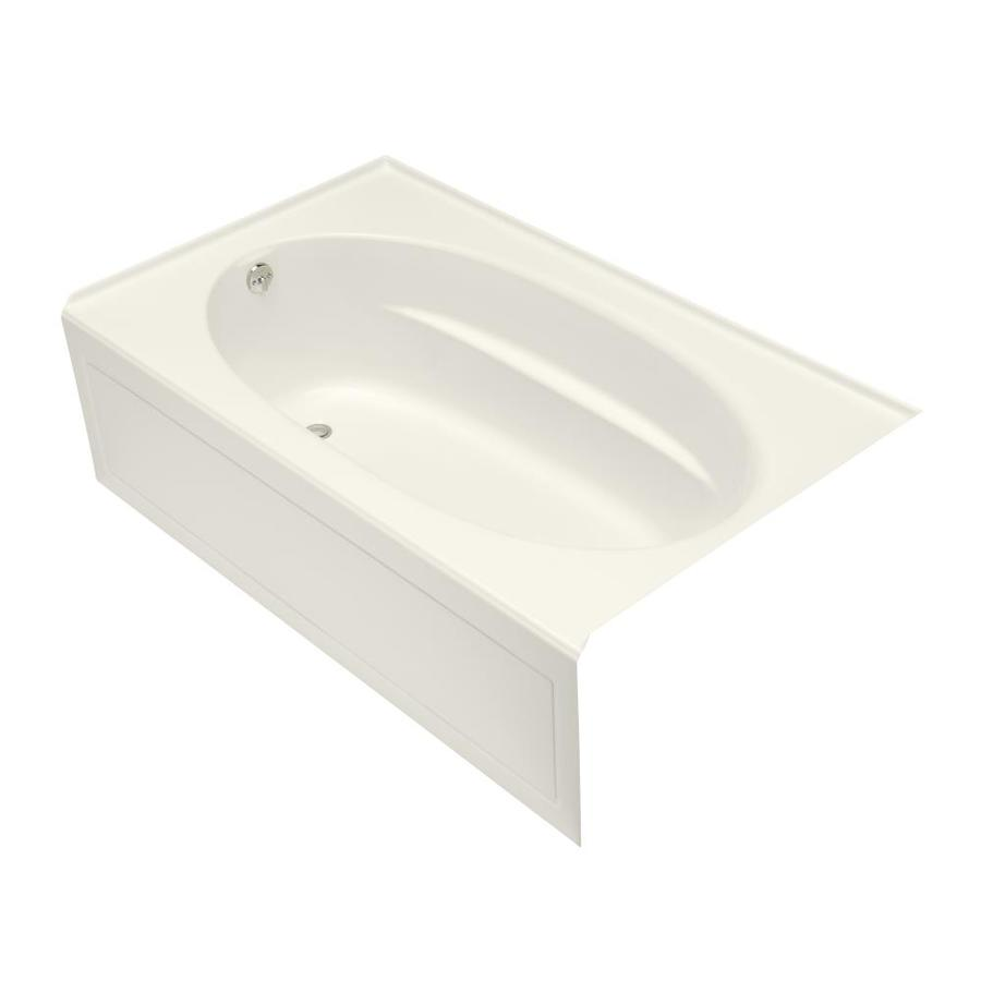 KOHLER Windward Biscuit Acrylic Oval In Rectangle Skirted Bathtub with Left-Hand Drain (Common: 42-in x 72-in; Actual: 22.25-in x 42-in x 72-in)