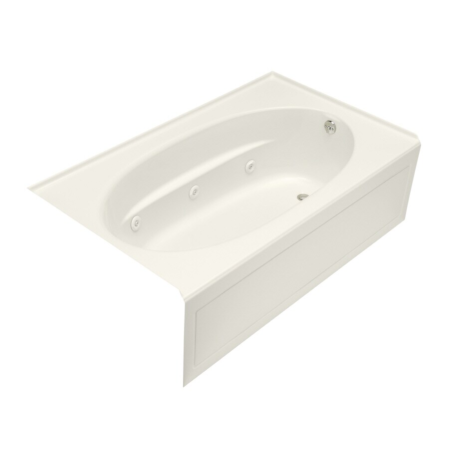 KOHLER Windward Biscuit Acrylic Oval In Rectangle Whirlpool Tub (Common: 42-in x 72-in; Actual: 21-in x 42-in x 72-in)