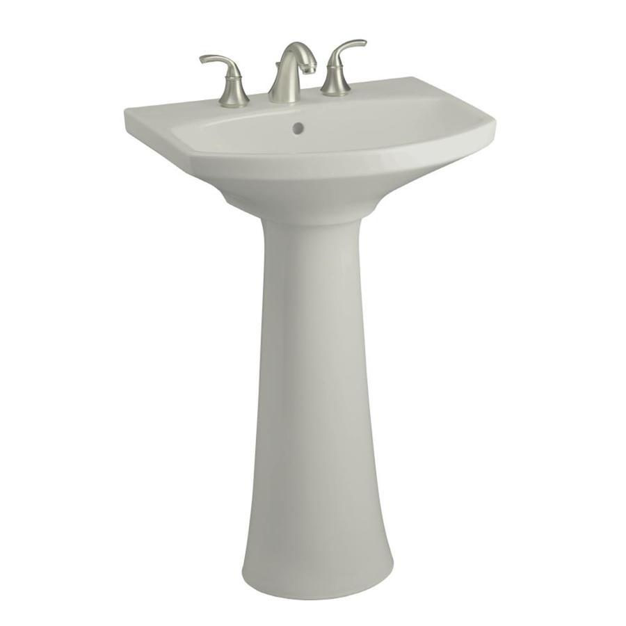 KOHLER Cimarron 34.5-in H Ice Grey Vitreous China Pedestal Sink