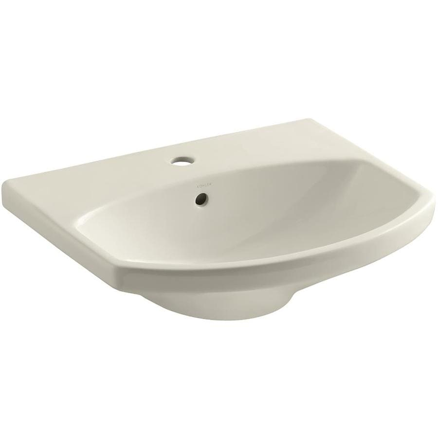 KOHLER Cimarron 22.75-in L x 18.875-in W Almond Vitreous China Oval Pedestal Sink Top