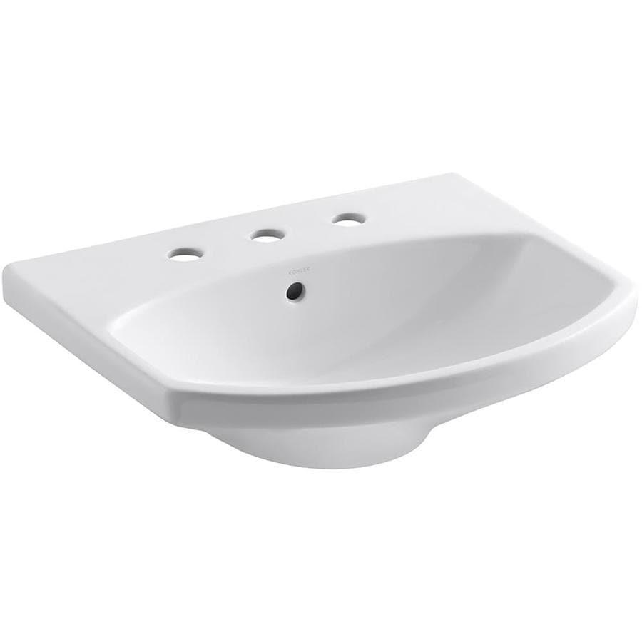 KOHLER Cimarron 22.75-in L x 18.875-in W White Vitreous China Oval Pedestal Sink Top
