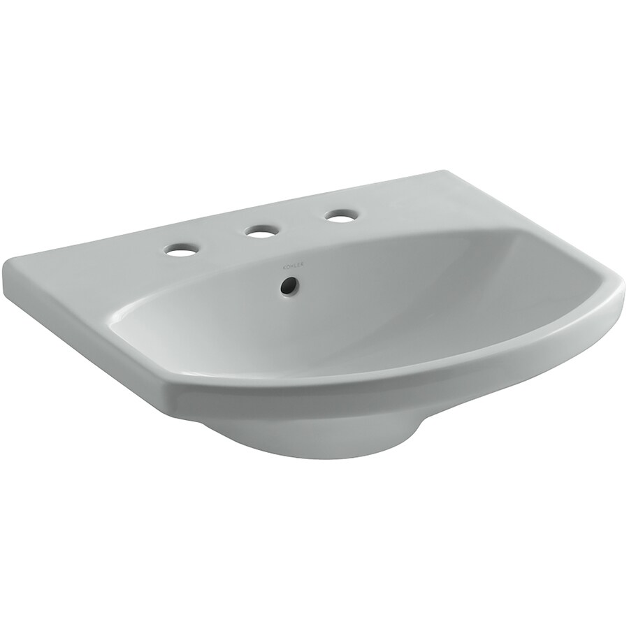 KOHLER Cimarron 22.75-in L x 18.875-in W Ice Grey Vitreous China Oval Pedestal Sink Top
