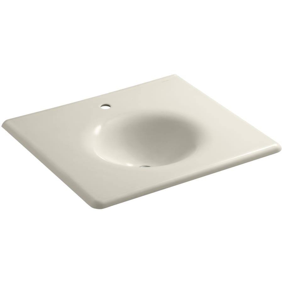 KOHLER Impressions Almond Cast Iron Oval Bathroom Sink