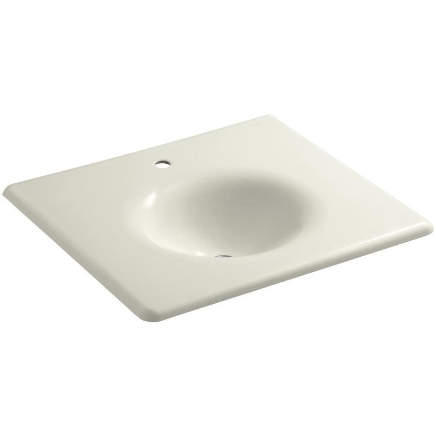 KOHLER Impressions Biscuit Cast Iron Oval Bathroom Sink
