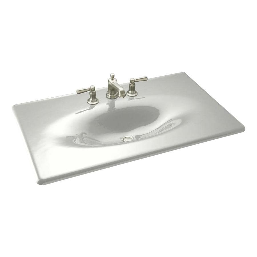 KOHLER Impressions Cane Sugar Cast Iron Drop-in Oval Bathroom Sink