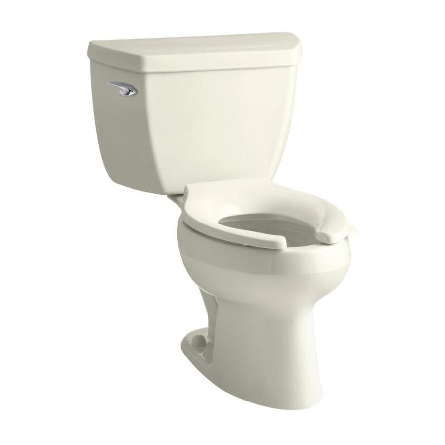 KOHLER Wellworth Biscuit 1.0-GPF (3.79-LPF) 12 Rough-In WaterSense Elongated Pressure Assist 2-Piece Chair Height Toilet