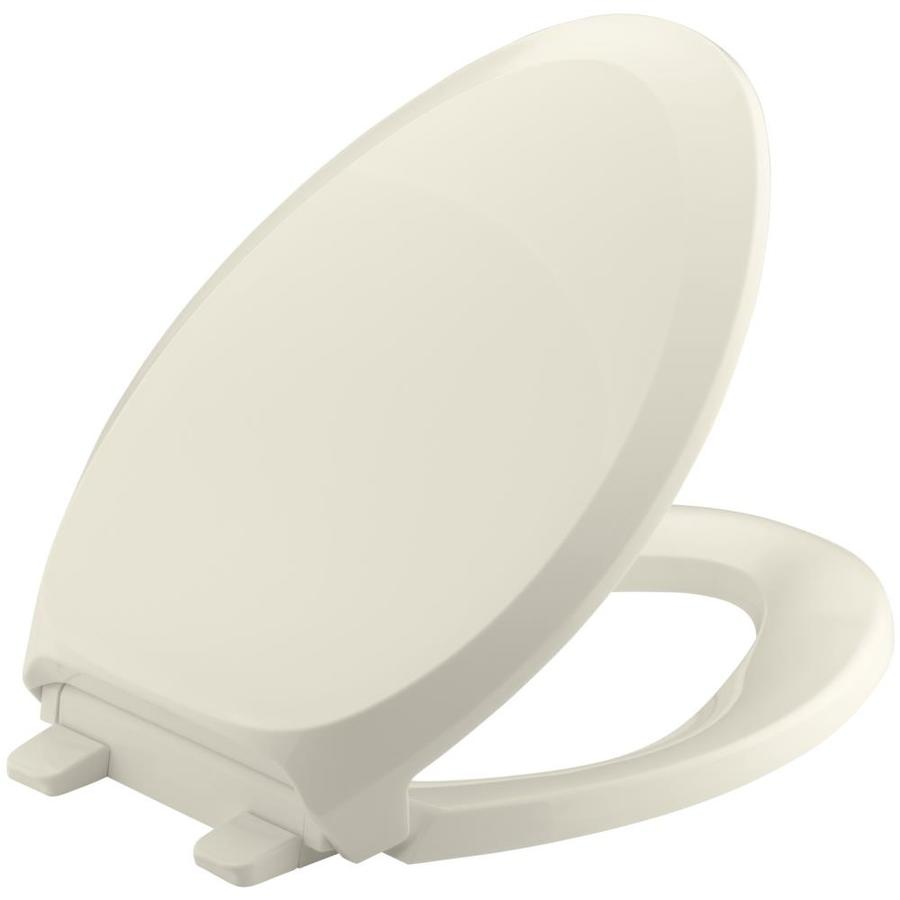 KOHLER Grip-Tight French Curve Almond Plastic Elongated Slow-Close Toilet Seat