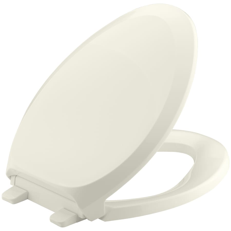 KOHLER Grip-Tight French Curve Biscuit Plastic Elongated Slow-Close Toilet Seat