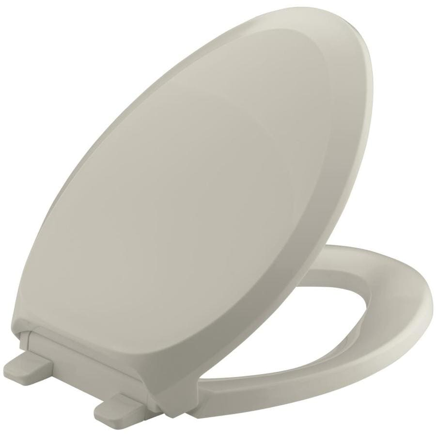 KOHLER Grip-Tight French Curve Sandbar Plastic Elongated Slow-Close Toilet Seat
