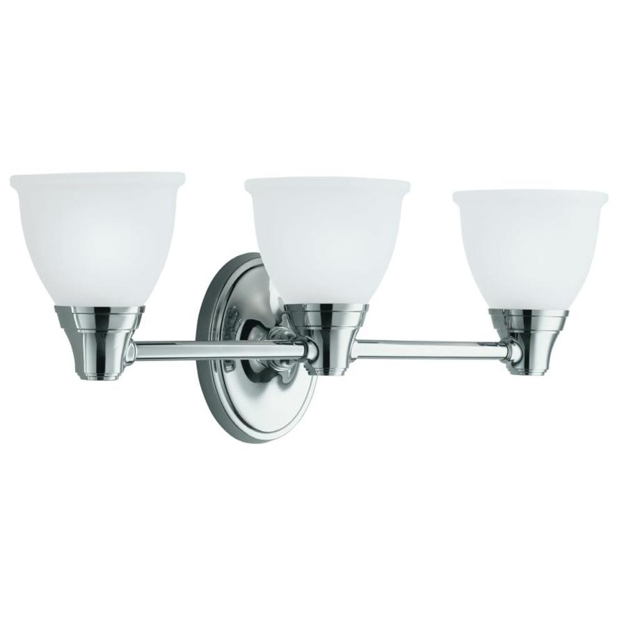 KOHLER Forte 23-in W 3-Light Polished Chrome Arm Hardwired Wall Sconce
