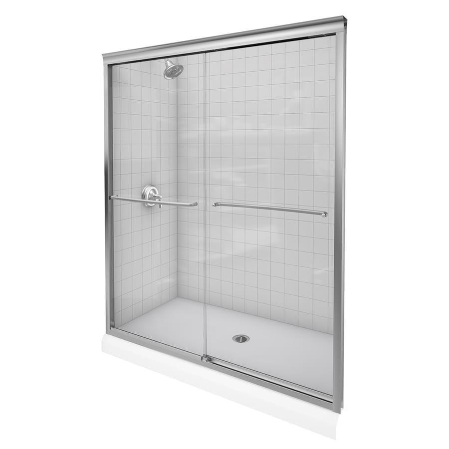 Shop kohler fluence 56 in to 59 in w x 70 in h brushed for Bathtub shower doors hardware