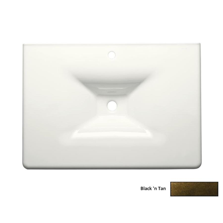 KOHLER Impressions Black 'N Tan Cast Iron Rectangular Bathroom Sink