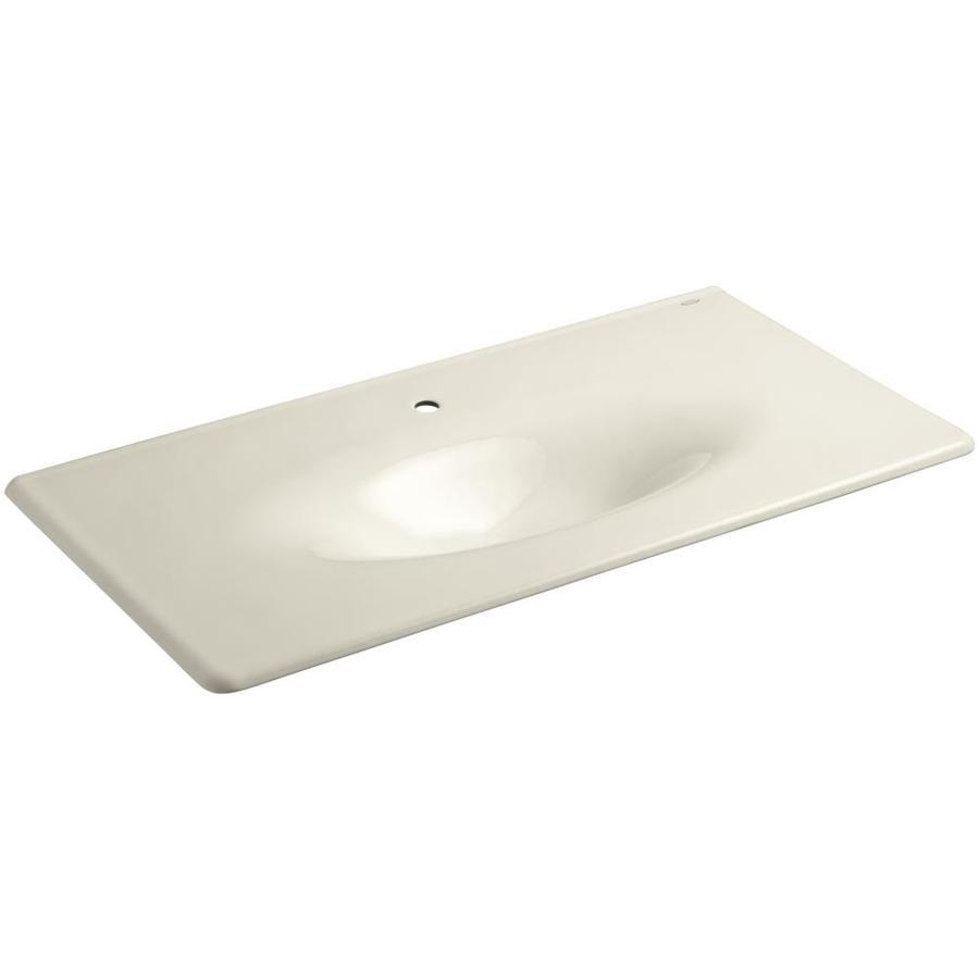 KOHLER Iron/Impressions Almond Cast Iron Integral Bathroom Vanity Top (Common: 44-in x 23-in; Actual: 43.625-in x 22.25-in)