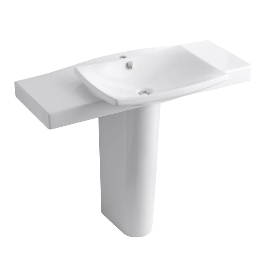Shop KOHLER Escale 34-in H White Fire Clay Pedestal Sink at Lowes.com