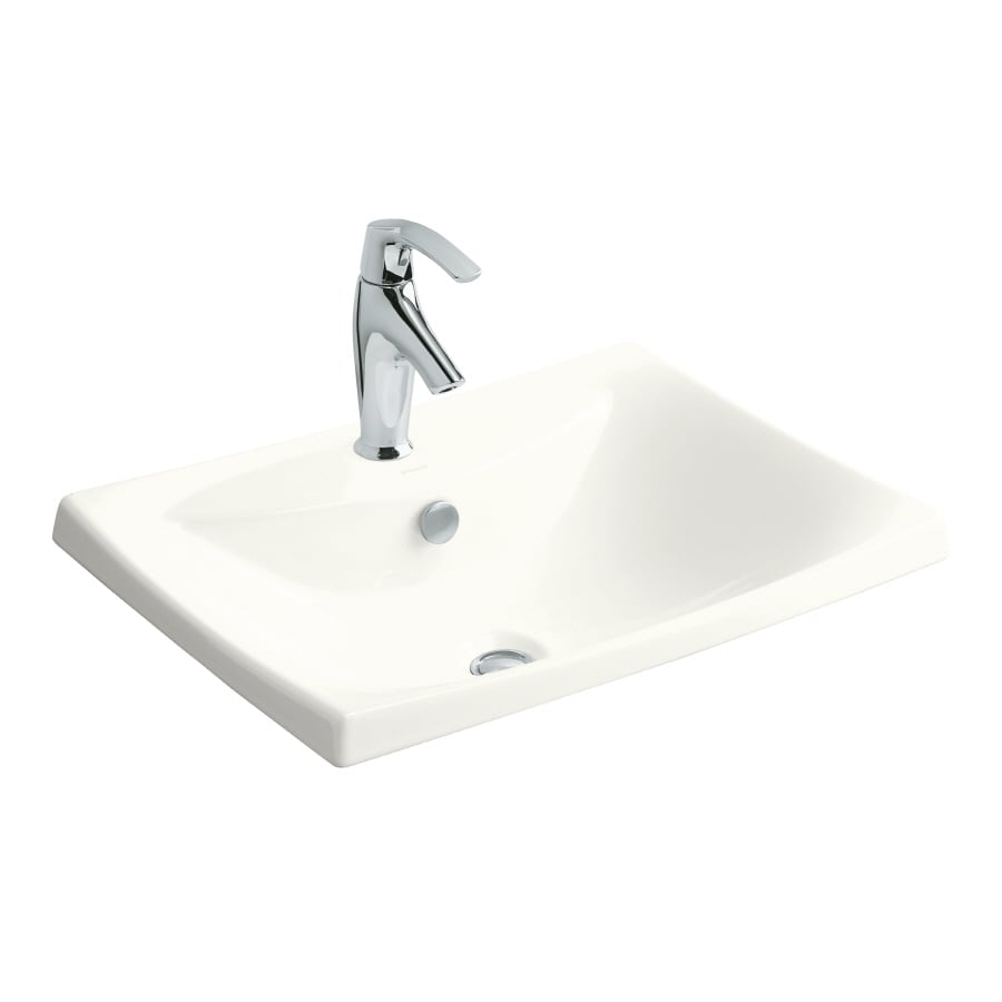 Shop Kohler Escale White Fire Clay Drop In Rectangular Bathroom Sink With Overflow At