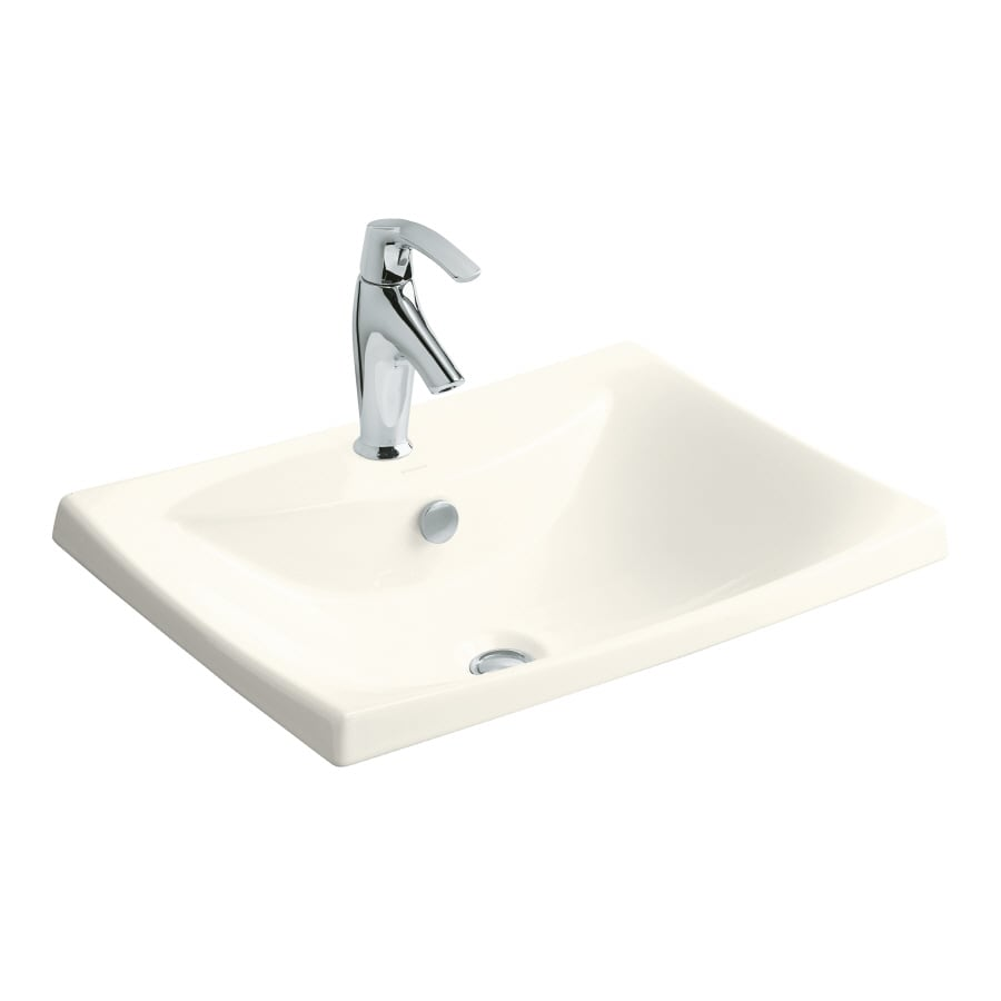 KOHLER Escale Biscuit Fire Clay Drop-in Rectangular Bathroom Sink with Overflow