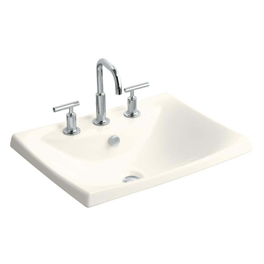 KOHLER Escale Biscuit Fire Clay Drop-in Rectangular Bathroom Sink with Overflow