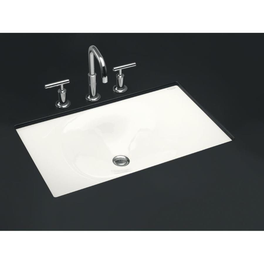 KOHLER Iron/Tones White Cast Iron Drop-in Rectangular Bathroom Sink