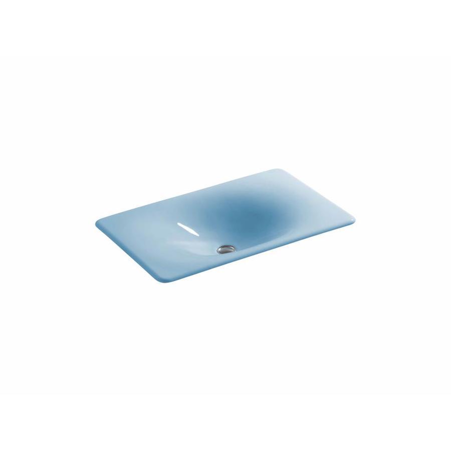 KOHLER Iron/Tones Vapour Blue Cast Iron Drop-in Rectangular Bathroom Sink