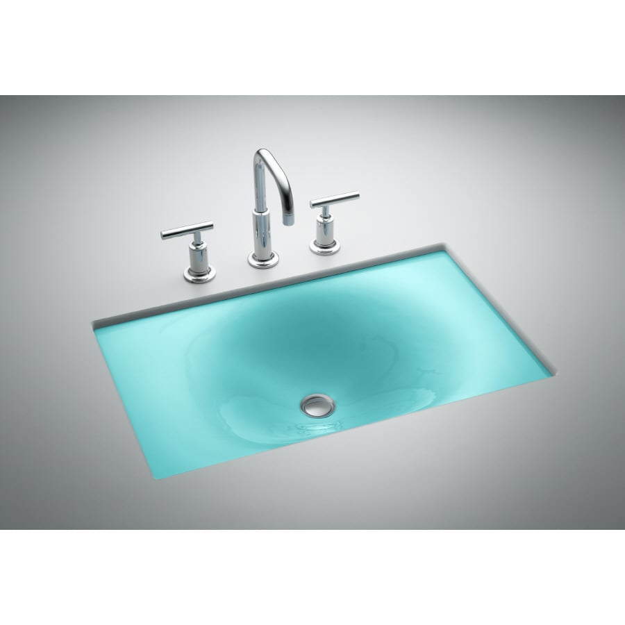 Shop kohler vapour green cast iron undermount rectangular for Bathroom undermount sinks