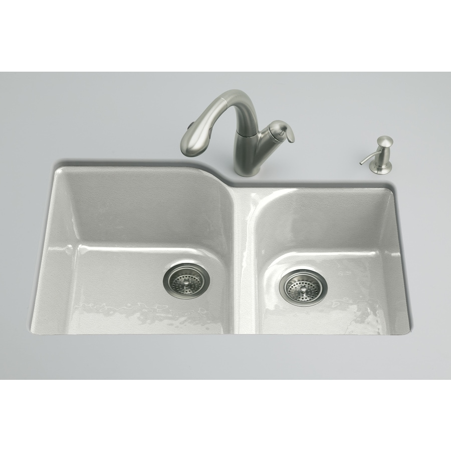 KOHLER Executive Chef 22-in x 33-in Sea Salt Double-Basin Cast Iron Undermount 4-Hole Residential Kitchen Sink