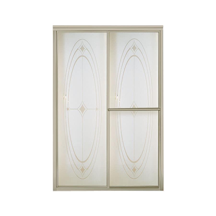 Sterling Deluxe 43.875-in to 48.875-in W x 70-in H Brushed Nickel Sliding Shower Door