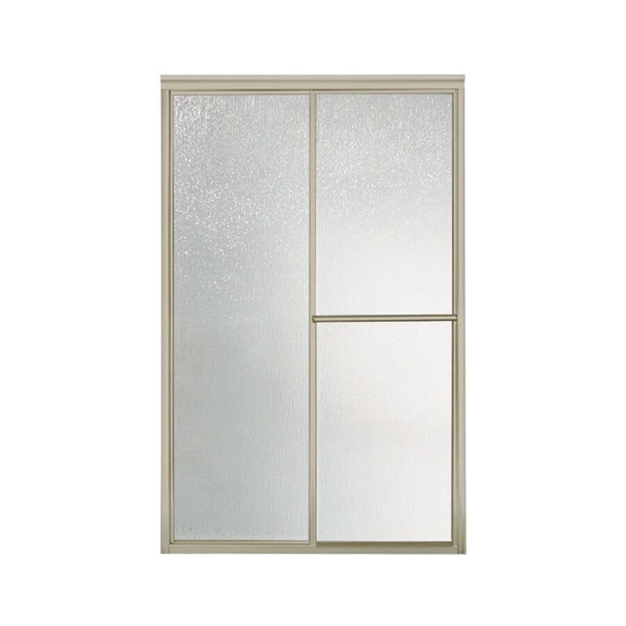 Sterling Deluxe 54.625-in to 59.375-in W x 70-in H Brushed Nickel Sliding Shower Door