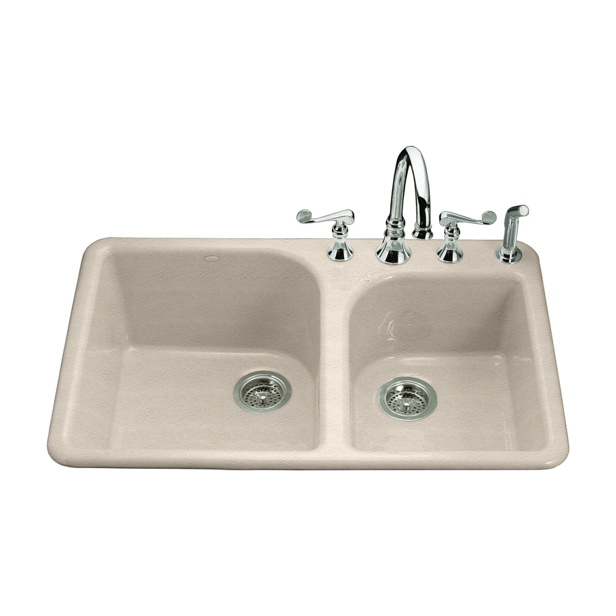 KOHLER Executive Chef 22-in x 33-in Cane Sugar Double-Basin Cast Iron Drop-in 4-Hole Residential Kitchen Sink