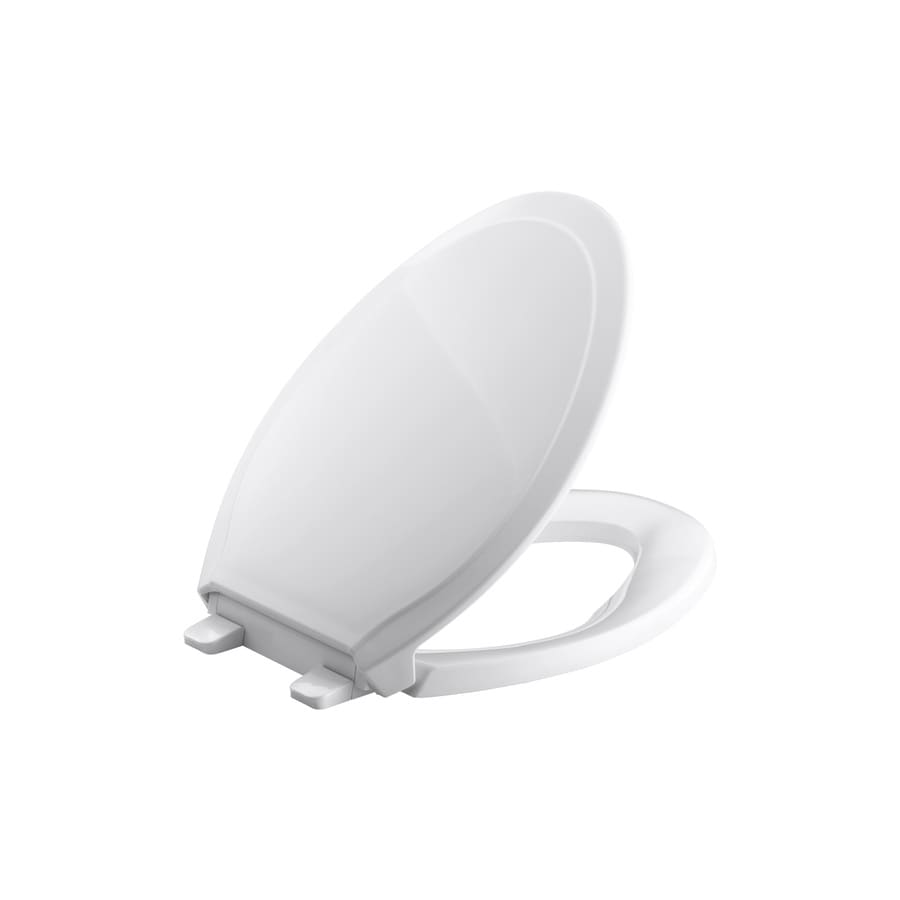 KOHLER Rutledge White Plastic Elongated Slow Close Toilet Seat