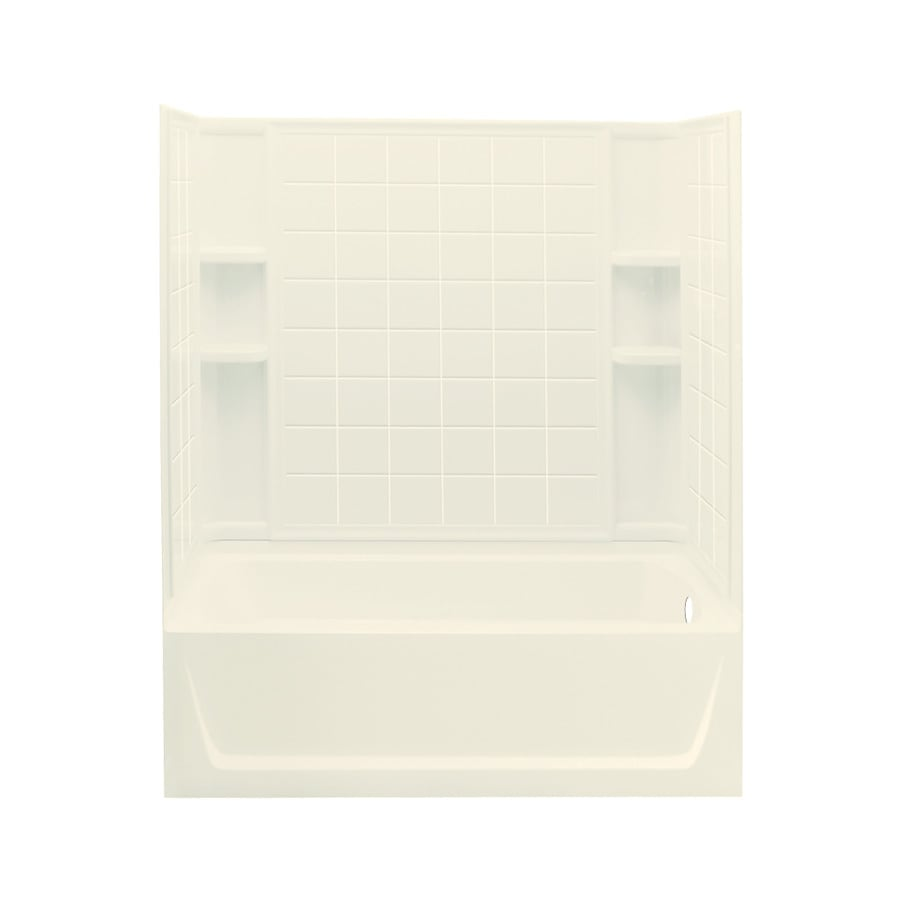 Sterling Ensemble Biscuit Fiberglass and Plastic Composite Rectangular Skirted Bathtub with Right-Hand Drain (Common: 32-in x 60-in; Actual: 74-in x 32-in x 60.25-in)