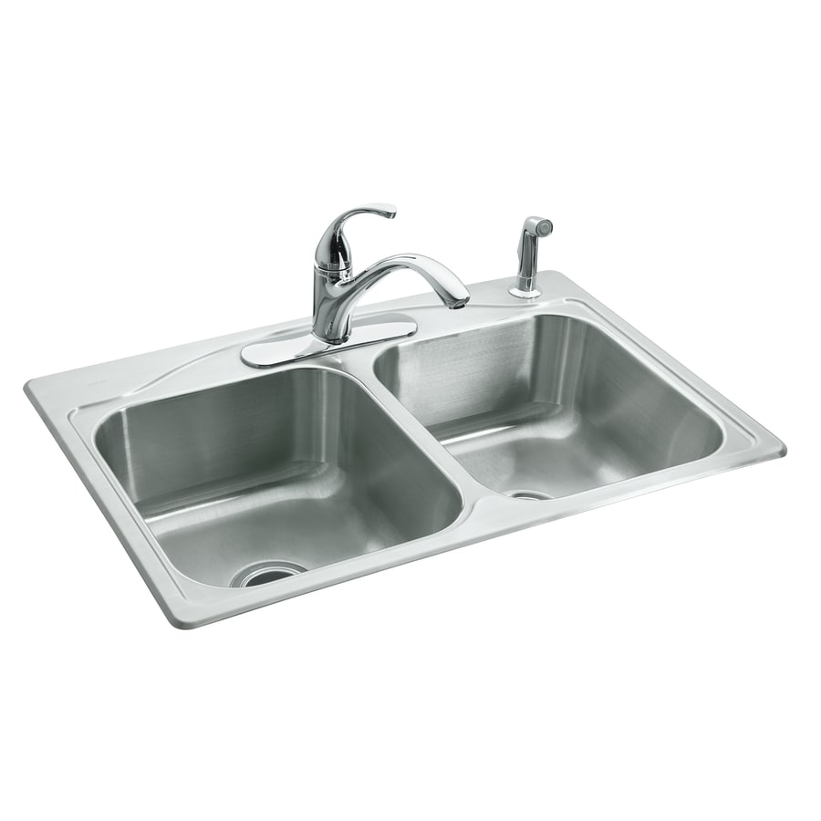 KOHLER Cadence 22-in x 33-in Stainless Steel Double-Basin Drop-in 4-Hole Residential Kitchen Sink