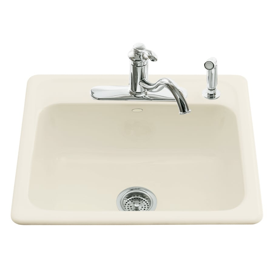 Shop kohler mayfield 22 in x 25 in biscuit single basin cast iron drop in 4 hole commercial - Cast iron sink weight ...
